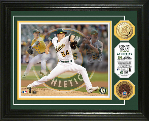 "Photo of Sonny Gray ""Triple Play"" Framed Photomint w/ Game-Used Dirt"