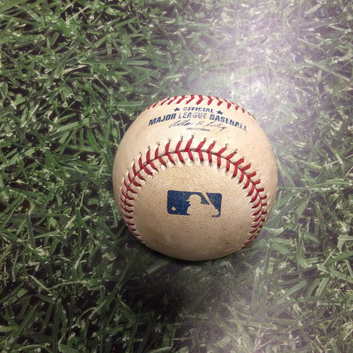 Photo of Game-Used Baseball LAD@MIL 04/17/12 - Chad Billingsley to Rickie Weeks: Double