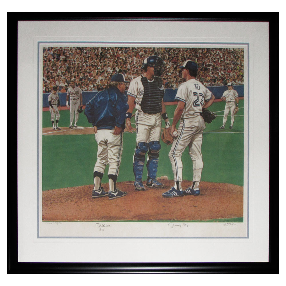 Pat Borders & Jimmy Key Autographed Toronto Blue Jays Framed Lithograph - #4/15