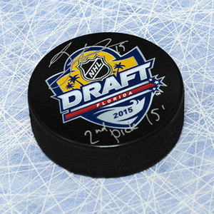 Jack Eichel 2015 NHL Draft Day Puck Autographed w/ 2nd Pick Inscription *Buffalo Sabres*