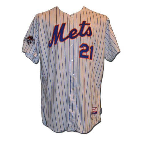 Photo of Lucas Duda #21 - MLB Authenticated Team Issued 2015 Postseason Jersey - 2015 Postseason Patch on Right Sleeve