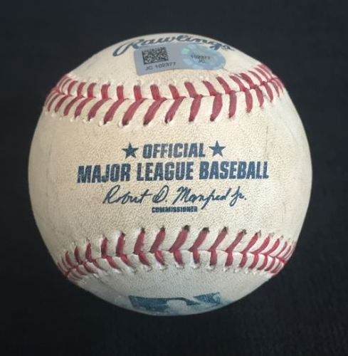 Photo of Game Used Baseball from Pirates vs. Brewers on 9/3/2016 - Marte to Gennett, Foul Back to Screen - Kelvin Marte MLB Debut