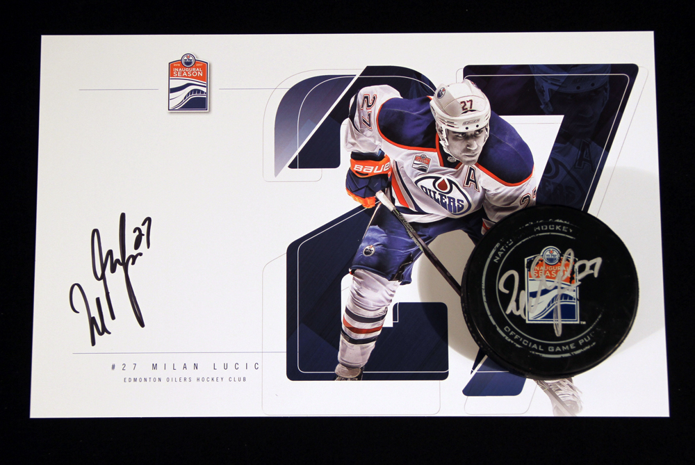 Milan Lucic #27 - Autographed 166th NHL Career Regular Season Edmonton Oilers Goal Puck Scored On November 27th, 2016 vs the Arizona Coyotes - Includes Bonus Autographed Player Card!