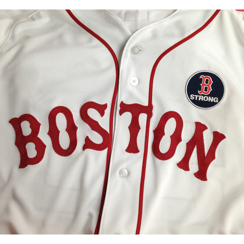 Photo of Red Sox Foundation Patriots' Day - Sandy Leon Game-Used and Autographed Jersey