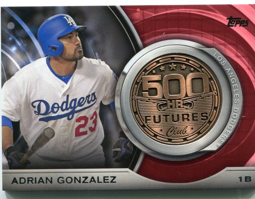 Photo of 2016 Topps Update 500 HR Futures Club Medallions Adrian Gonzalez -- Dodgers post-season