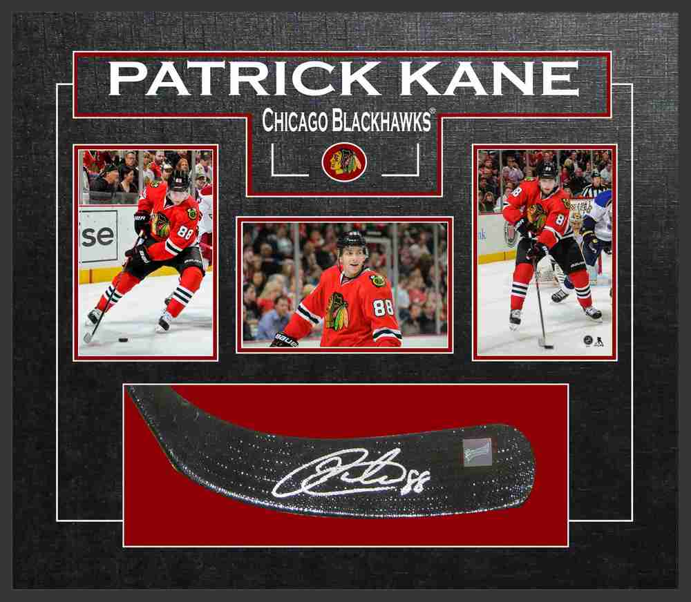 Patrick Kane - Signed & Framed Stick Blade - Featuring Chicago Blackhawks Photo Collection