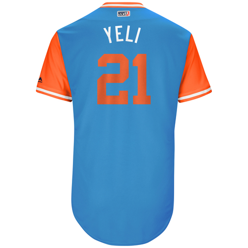 """Photo of Christian """"Yeli"""" Yelich Miami Marlins Game-Used Players Weekend Jersey"""