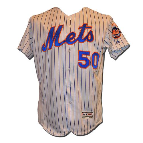 Photo of Rafael Montero #50 - Game Used White Pinstripe Jersey - Mets vs. Phillies - 9/23/16