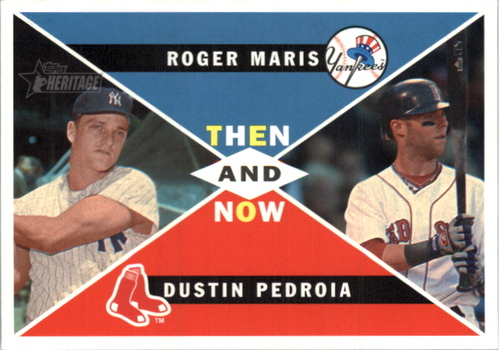 Photo of 2009 Topps Heritage High Number Then and Now #TN01 Dustin Pedroia/Roger Maris