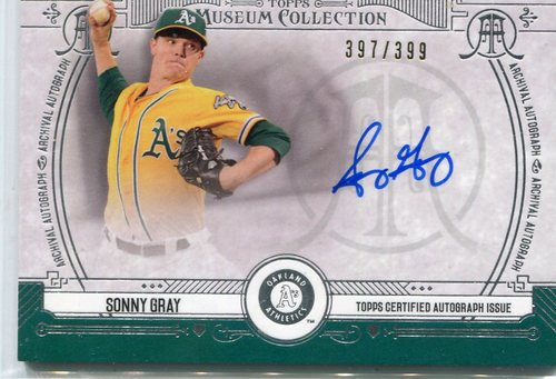 Photo of 2015 Topps Museum Collection Archival Autograph Sonny Gray 397/399 -- Yankees post-season