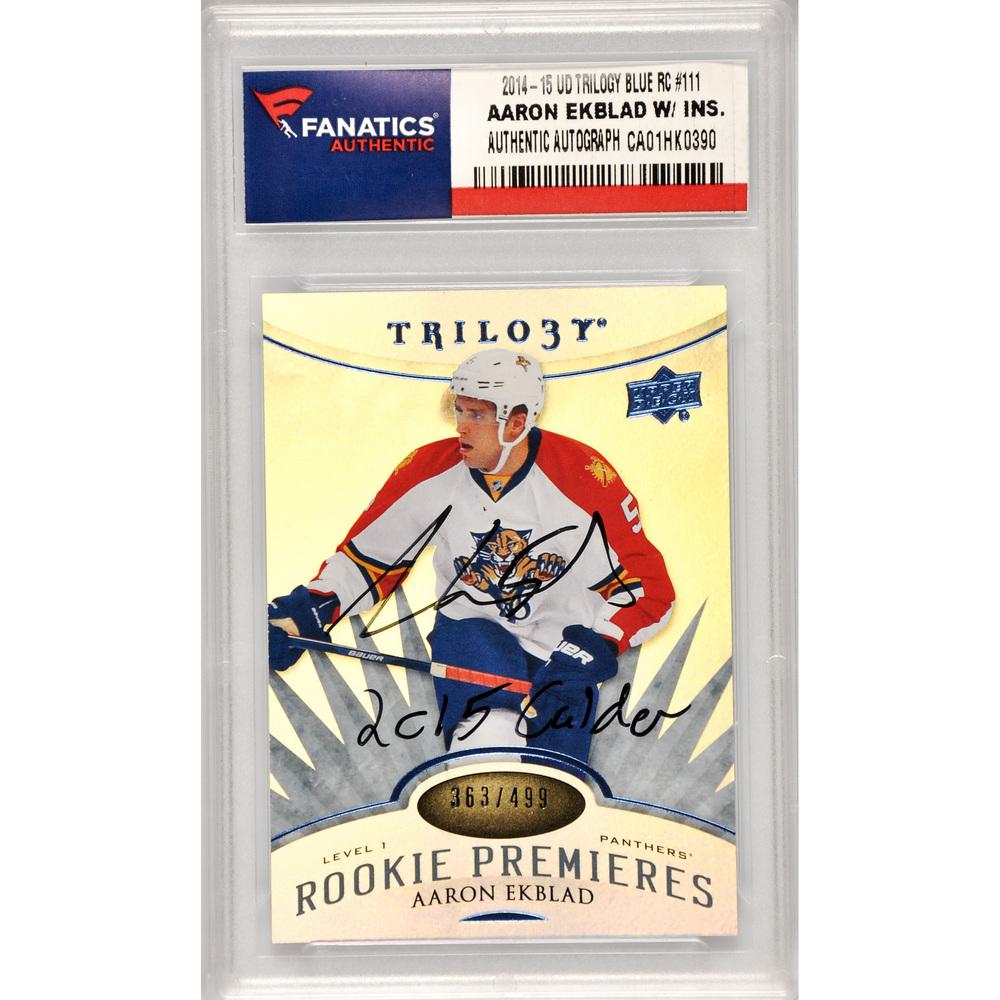 Aaron Ekblad Florida Panthers Autographed 2014-15 Upper Deck Trilogy Blue Rookie #111 Card with 2015 Calder Inscription