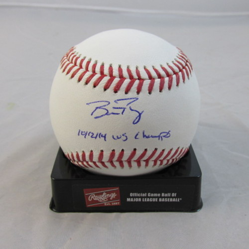 "Photo of Buster Posey Autographed ""10,12,14 WS Champs"" Baseball"