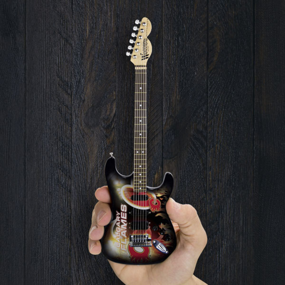 Calgary Flames Woodrow Miniature Guitar