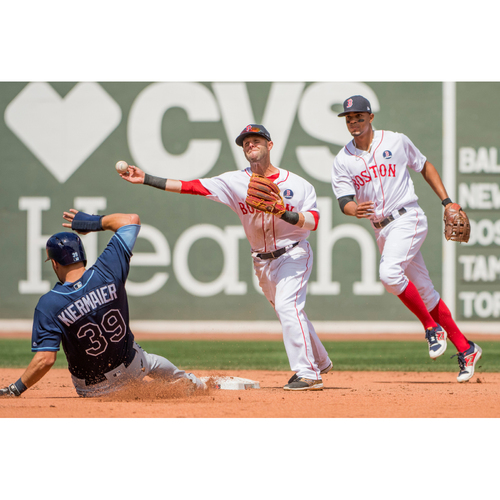 Photo of Red Sox Foundation Patriots' Day - Dustin Pedroia Game-Used and Autographed Jersey