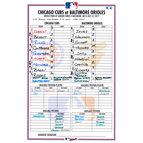 Photo of Game-Used Lineup Card -- Cubs Hit 5 HRs -- Cubs at Orioles -- 7/14/17