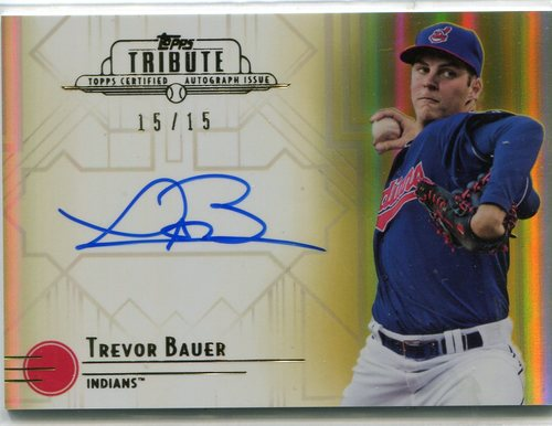 Photo of 2014 Topps Tribute Autographs Gold #TATB Trevor Bauer 15/15 -- Indians post-season