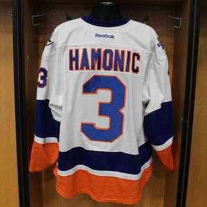 Travis Hamonic - Game Worn Away Jersey - 2015-16 Season - New York Islanders