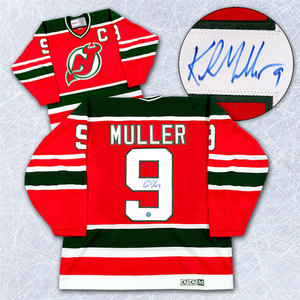 Kirk Muller New Jersey Devils Autographed Green & Red Retro CCM Hockey Jersey