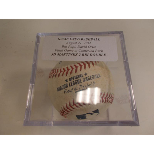 Photo of Game-Used Baseball: JD Martinez 2 RBI Double- David Ortiz's Final Game at Comerica Park