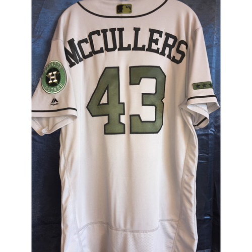 Photo of Lance McCullers, Jr. Game-Used Memorial Day Camo Jersey