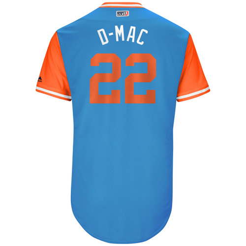 "Photo of Dustin ""D-Mac"" McGowan Miami Marlins Game-Used Players Weekend Jersey"