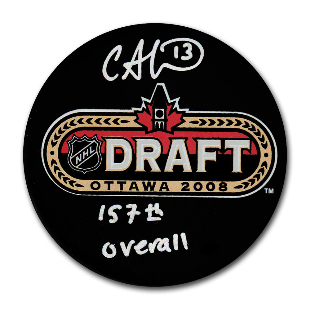 Cam Atkinson Autographed 2008 NHL Entry Draft Puck w/157TH OVERALL Inscription