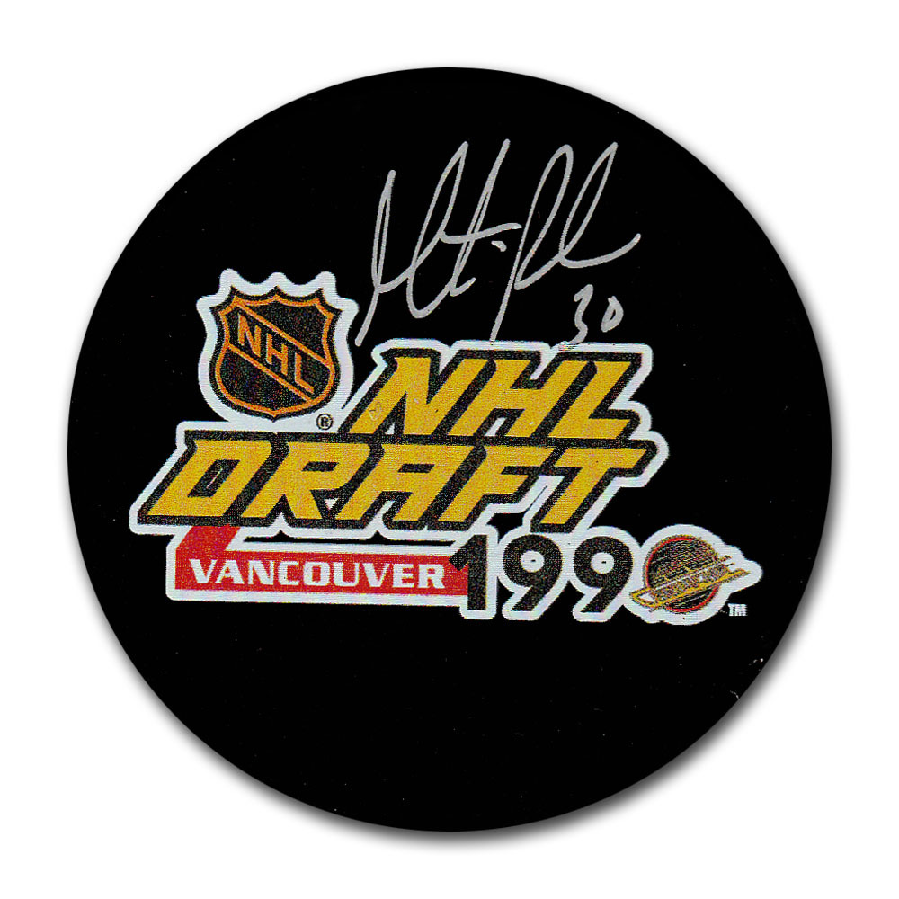 Martin Brodeur (New Jersey Devils) Autographed 1990 NHL Entry Draft Puck
