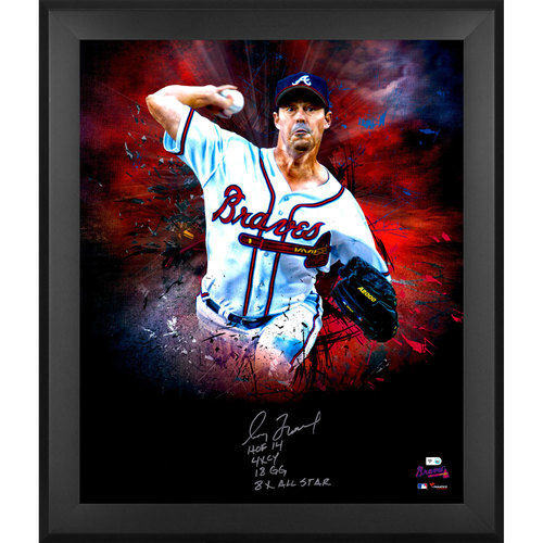 """Photo of Greg Maddux Atlanta Braves Framed Autographed 20"""" x 24"""" In Focus Photograph with Multiple Inscriptions - Limited Edition of 31"""