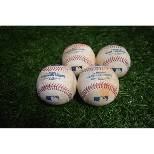Photo of Game-Used Baseballs: Evan Longoria, Steven Souza Jr., Tim Beckham and Daniel Robertson