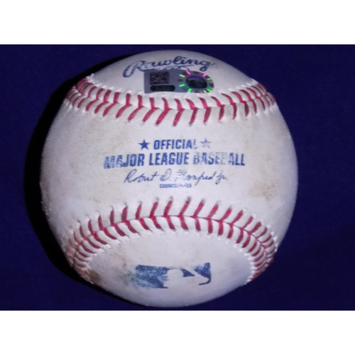 Photo of Game-Used Baseball: Giancarlo Stanton Double (21) Off Of Cole Hamels - July 25, 2017