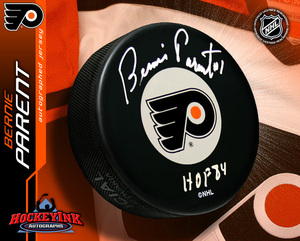 BERNIE PARENT Signed Philadelphia Flyers Puck
