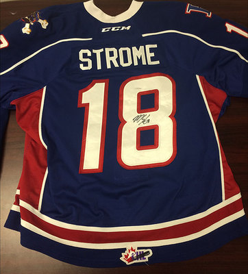 MATTHEW STROME GAME WORN AUTOGRAPHED OHL JERSEY