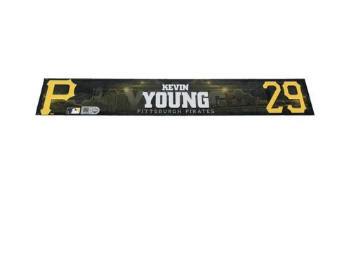 Photo of Kevin Young Game-Used Spring Training Locker Name Plate