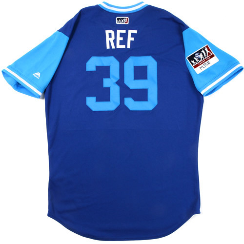 """Photo of Rob """"Ref"""" Refsnyder Toronto Blue Jays Game-Used Players Weekend Jersey"""