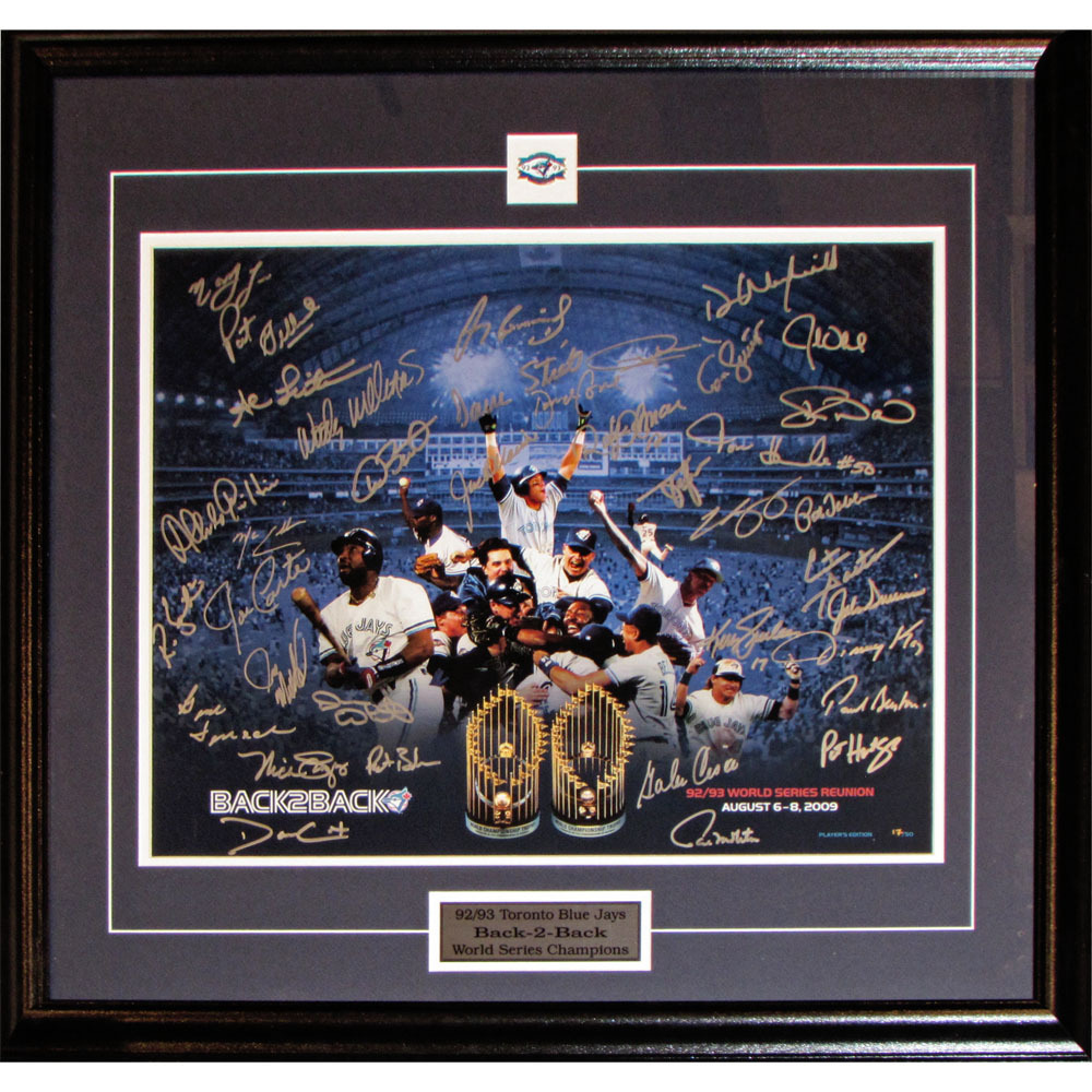 1992-93 Toronto Blue Jays Back-to-Back World Series Champions Autographed Limited-Edition Framed Lithograph