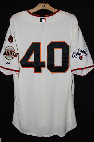 Photo of San Francisco Giants Madison Bumgarner Game-Used Home Jersey - October 3rd, 2015 vs. the Colorado Rockies