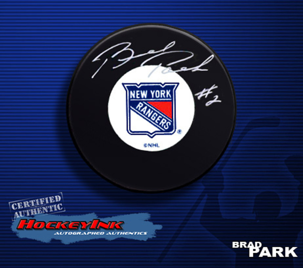 BRAD PARK Signed New York Rangers Puck