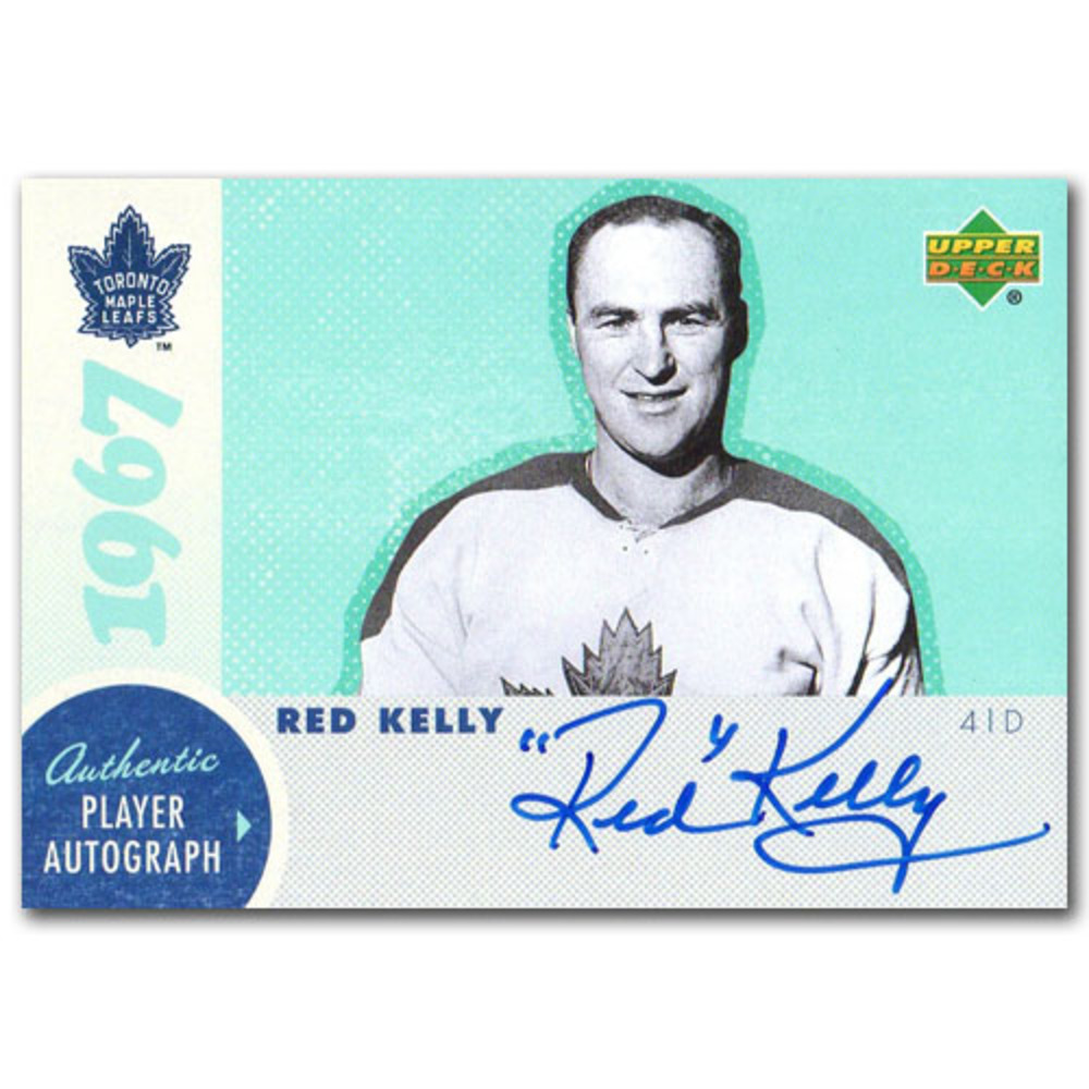 Red Kelly Autographed Commemorative 1967 Toronto Maple Leafs Upper Deck Hockey Card