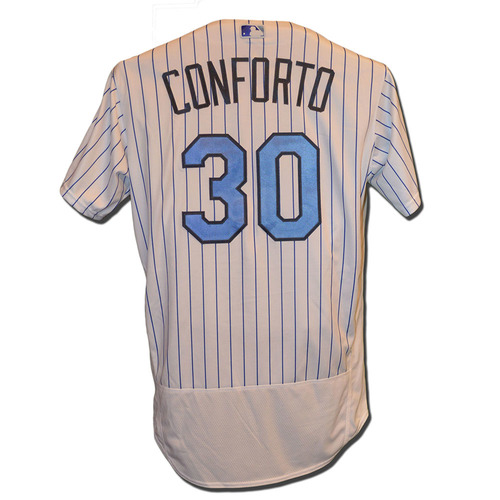 Photo of Michael Conforto #30 - Conforto Goes 2-3, 2 RBI - Game Used Father's Day Jersey - Mets vs. Nationals - 6/18/17