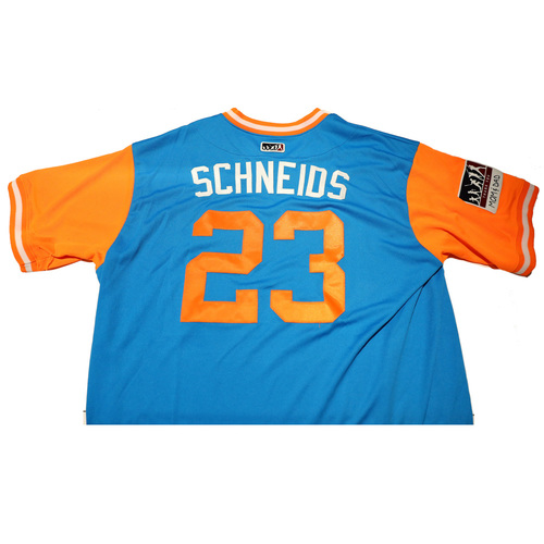 "Photo of Brian ""Schneids"" Schneider Miami Marlins Game-Used Players Weekend Jersey"