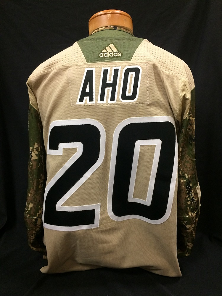Sebastian Aho #20 Autographed Military Appreciation Jersey