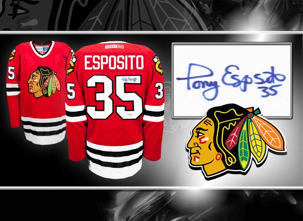 Tony Esposito Chicago Blackhawks CCM Autographed Jersey