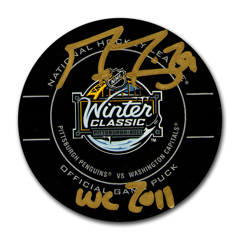 Marc-Andre Fleury Autographed 2011 NHL Winter Classic Official Game Puck w/WC 2011 Inscription