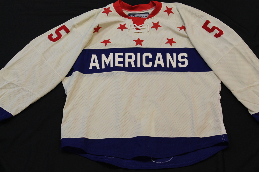Chad Ruhwedel Rochester Americans Authentic Game Worn Frozen Frontier Outdoor Game Jersey. Size 56