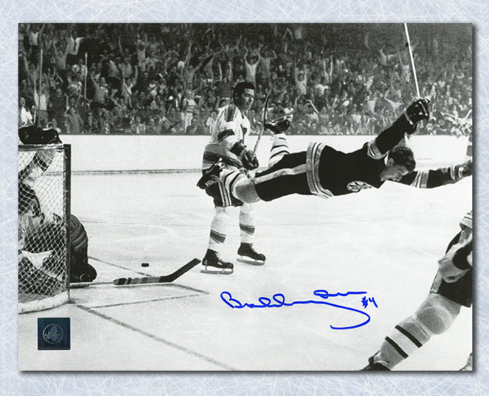 Bobby Orr Boston Bruins Autographed Stanley Cup Flying Goal 16x20 Photo: GNR COA