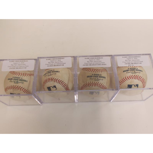 Photo of Set of Four Game-Used Baseballs: Jackie Bradley Foul Balls from Ortiz's Final Game at Comerica Park