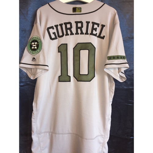 Photo of Yuli Gurriel Game-Used Memorial Day Camo Jersey