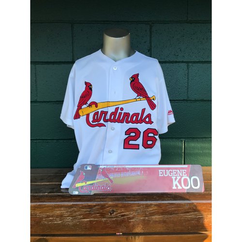 Photo of Cardinals Authentics: Seung-hwan Oh Game Worn Home White Jersey & Eugene Koo Issued Locker Nameplate