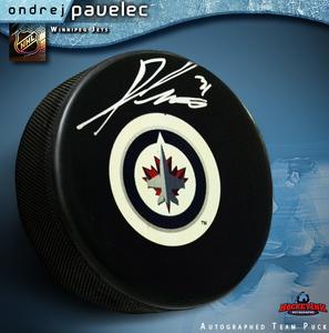 ONDREJ PAVELEC Signed Winnipeg Jets Puck