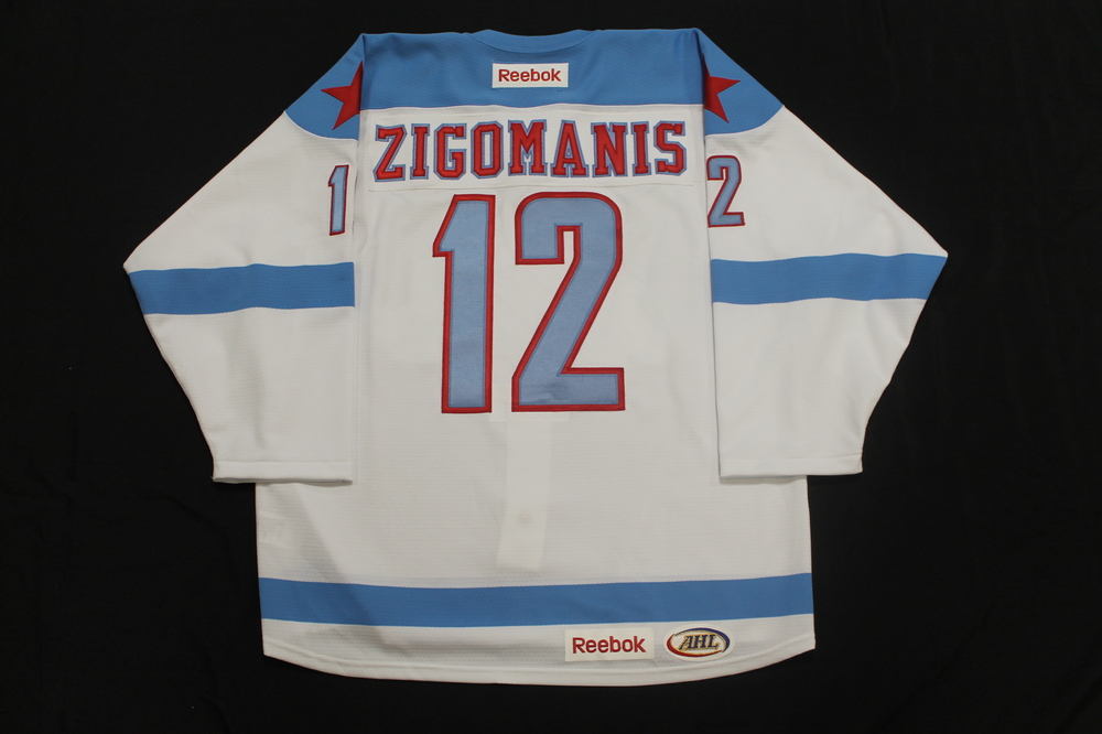 Mike Zigomanis Game Issued Rochester Americans Men's Health Night Jersey